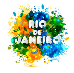 Illustration of Rio de Janeiro from Brazil vacation on watercolor stains,colors of the Brazil Carnival.