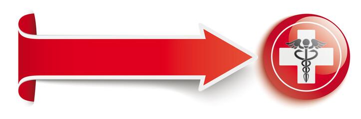 Long Red Convert Arrow Aesculapian Staff Button