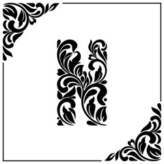 The letter N. Decorative Font with swirls and floral elements. Vintage style
