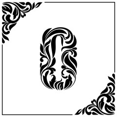 The letter O. Decorative Font with swirls and floral elements. Vintage style