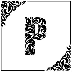 The letter P. Decorative Font with swirls and floral elements. Vintage style