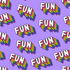 """Seamless pattern with patches, stickers, badges, pins with words """"FUN"""". Modern trendy illustration. Quirky cartoon comic style of 80-90s. Bright violet background."""