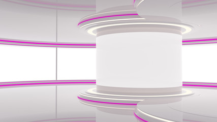 Abstract Empty 3D Studio Space With Purple Lights