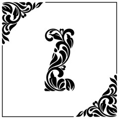The letter Z. Decorative Font with swirls and floral elements. Vintage style