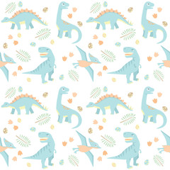 Baby Dinosaur Seamless Pattern Light Colors Vector Illustration Isolated on White