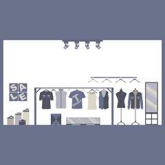 Men Casual Clothing and Shoe Store Vector