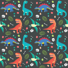 Baby Dinosaur Seamless Pattern Colorful Vector Illustration Dark Background