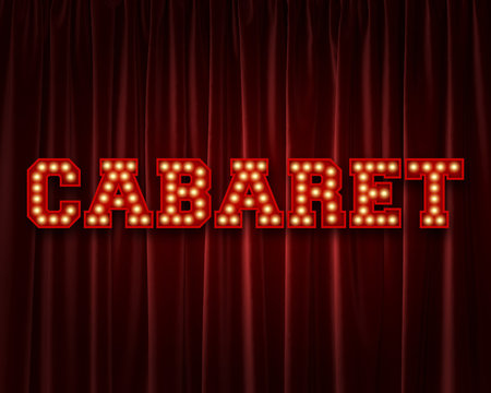 Cabaret lightbulb lettering word against a red theatre curtain. 3D Rendering