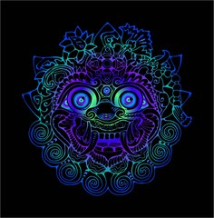 Colorful illustration of a Thai mask. Black and white drawing of the eastern deity