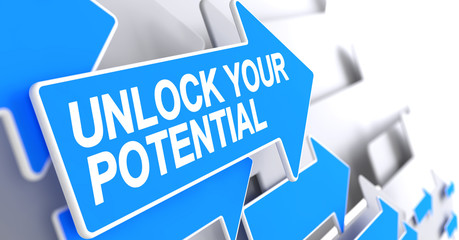 Unlock Your Potential - Text on the Blue Cursor. 3D.