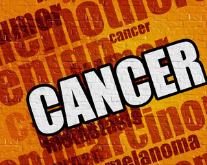 Modern health concept: Cancer on Yellow Brickwall .