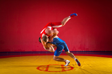 Two young men wrestlers in blue and red wrestling tights are wrestlng and making a hip throw on a yellow wrestling carpet in the gym, sied view