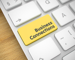 Business Connections - Message on Yellow Keyboard Key. 3D.