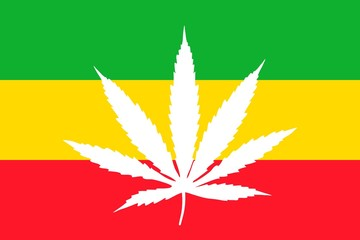 White cannabis leaf on rasta flag background, flat icon. Vector illustration of a symbol of medical marijuana