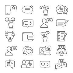 Feedback line icon set