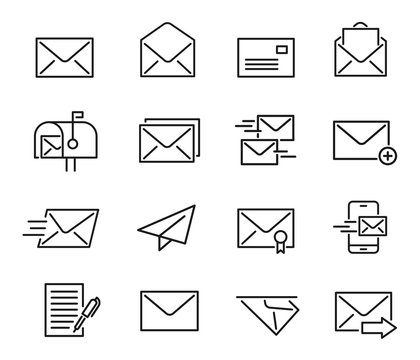 Mail line icon set