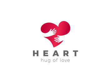 Love Hug Heart Logo design vector. Valentines Day Embrace icon