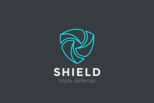 Shield Teamwork protect defense Logo design vector Linear style