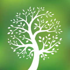 Organic green tree logo, eco emblem, ecology natural symbol. Vector illustration.