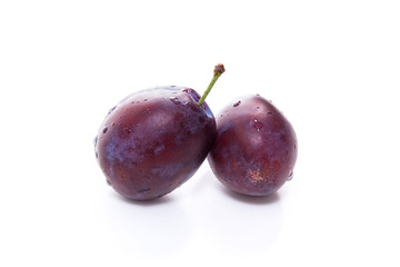 Group of ripe plums isolated on a white background..