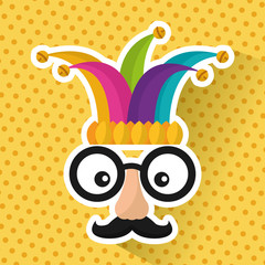 funny face glasses mustache and jester hat vector illustration