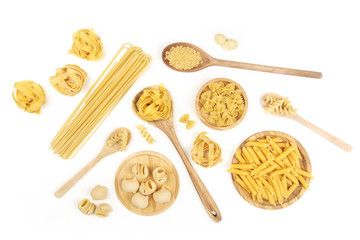 Overhead photo of different types of pasta on white