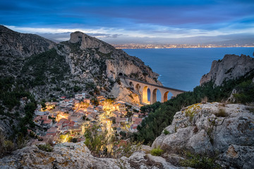La calanque de la Vesse - a steep-sided valley on Mediterranean coast near Marseille, Provence, France