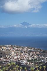 View of San Sebastian, La Gomera, Canary Islands with Mount Teide on Tenerife in background
