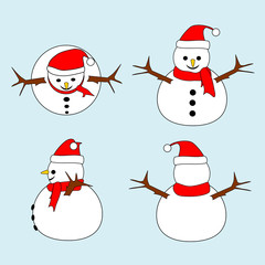 Set of Snowman with red hat and scarf in different views (top, front, side, back). Isolated on light blue background. Merry Christmas and happy new year concepts. Vector illustration.