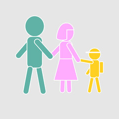Colorful family icon; symbol of kid goes to school with parents. Isolated on gray background. Flat design for use in website, logo, app, UI, art. Vector illustration, EPS 10.