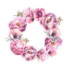watercolor romantic wreath of rose peony flower isolated on white background. Flower frame for card and wedding.