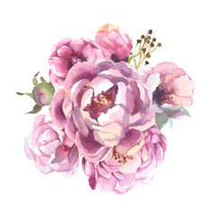different watercolor flower romantic collection