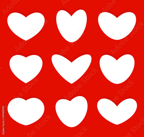 Hearts Shapes Icons Collection Love Symbols Set Vector Illustration
