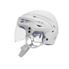 Hockey Helmet on white. Side view. 3D illustration