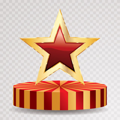 gold red star circus