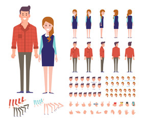 Front, side, back view animated characters. Young Man and woman characters creation set with various views, hairstyles, face emotions. Cartoon style, flat vector illustration.