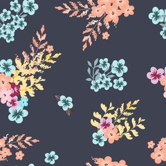 Vintage floral pattern. Seamless vector pattern with cute flowers and for textiles, packaging, Wallpapers, covers.