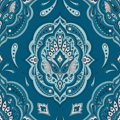 Floral indian paisley pattern vector seamless. Vintage flower ethnic ornament for batik fabric. Oriental folk design for persian rug, gypsy bedroom textile, blanket, bohemian pillow, duvet, clothing.