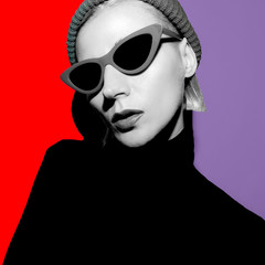 Tomboy Girl in fashion clothes and trendy Accessories. Beanie and sunglasses.  Stylish Collage Art
