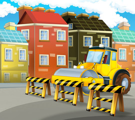 Cartoon road roller truck in the city - illustration for children
