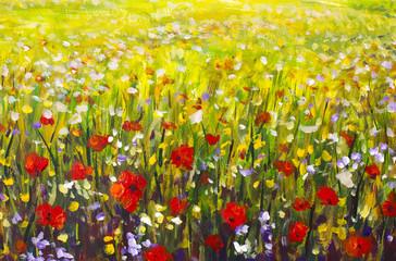 Obraz olejny pola maku. Lato kwitnie czerwonego pole. Sztuka współczesna - impresjonizm, faktura.