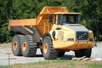Large dump truck at construction site
