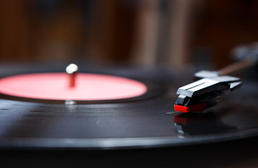 Retro hipster turntable vinyl player close up
