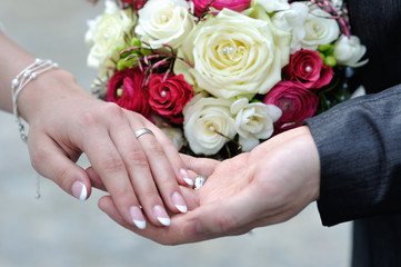 the hands of young married couples and the wedding bouquet