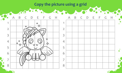 Copy the picture using a grid. Educational game for children. How to draw cute cartoon pegasus