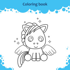 Coloring book page for kids. Color the cute cartoon pegasus.