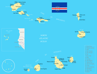 Cape Verde Map - Detailed Vector Illustration