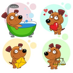 Fifteenth set with dog icons for design. Illustration of a dog sitting in the bathroom and being washed, in love with the heart in hand, with a letter, with weights.