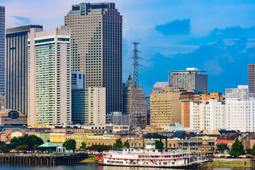 Sunny day at New Orleans, LA downtown. View from Mississippi