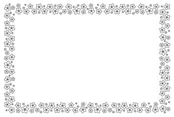 桃の花フレーム 白黒